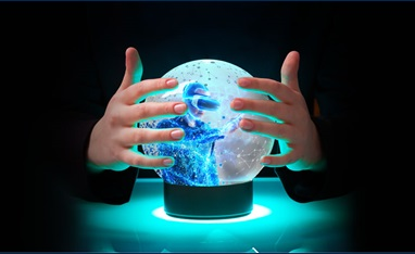 Hands around crystal ball