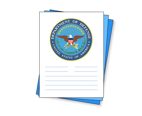 stack of documents with department of defense logo on top document in stack