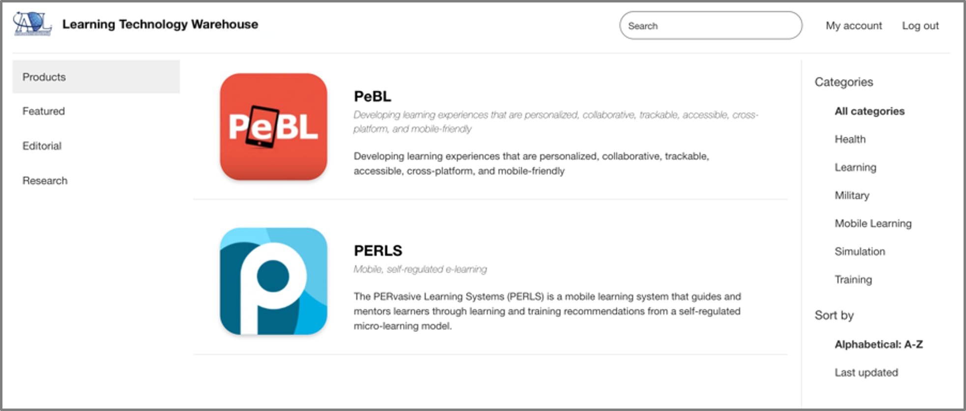 Screenshot of Learning Technology Warehouse showing PeBL and PERLS products