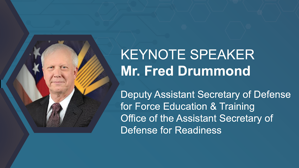 A picture of Keynote Speaker Mr. Charles (Fred) Drummond, Deputy Assistant Secretary of Defense, Force Education and Training, Office of the Assistant Secretary of Defense for Readiness, and the iFEST logo.